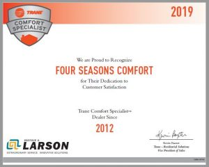 four seasons trane certificate